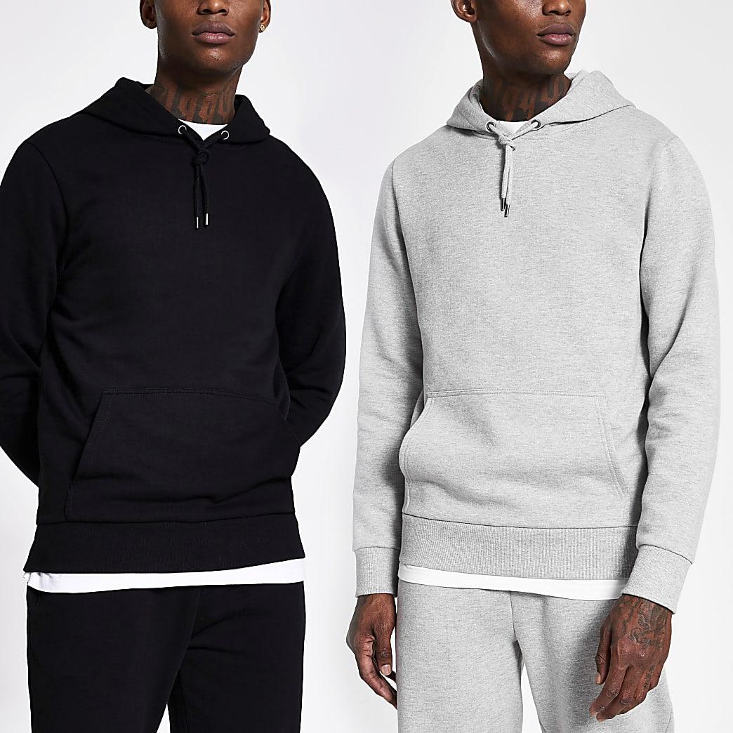 Set van 2 grijze en zwarte hoodies