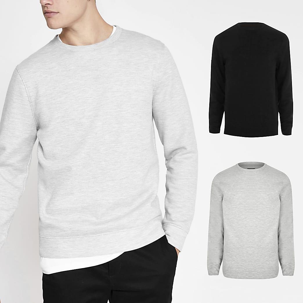 Set van 2 grijze en zwarte regular fit sweaters