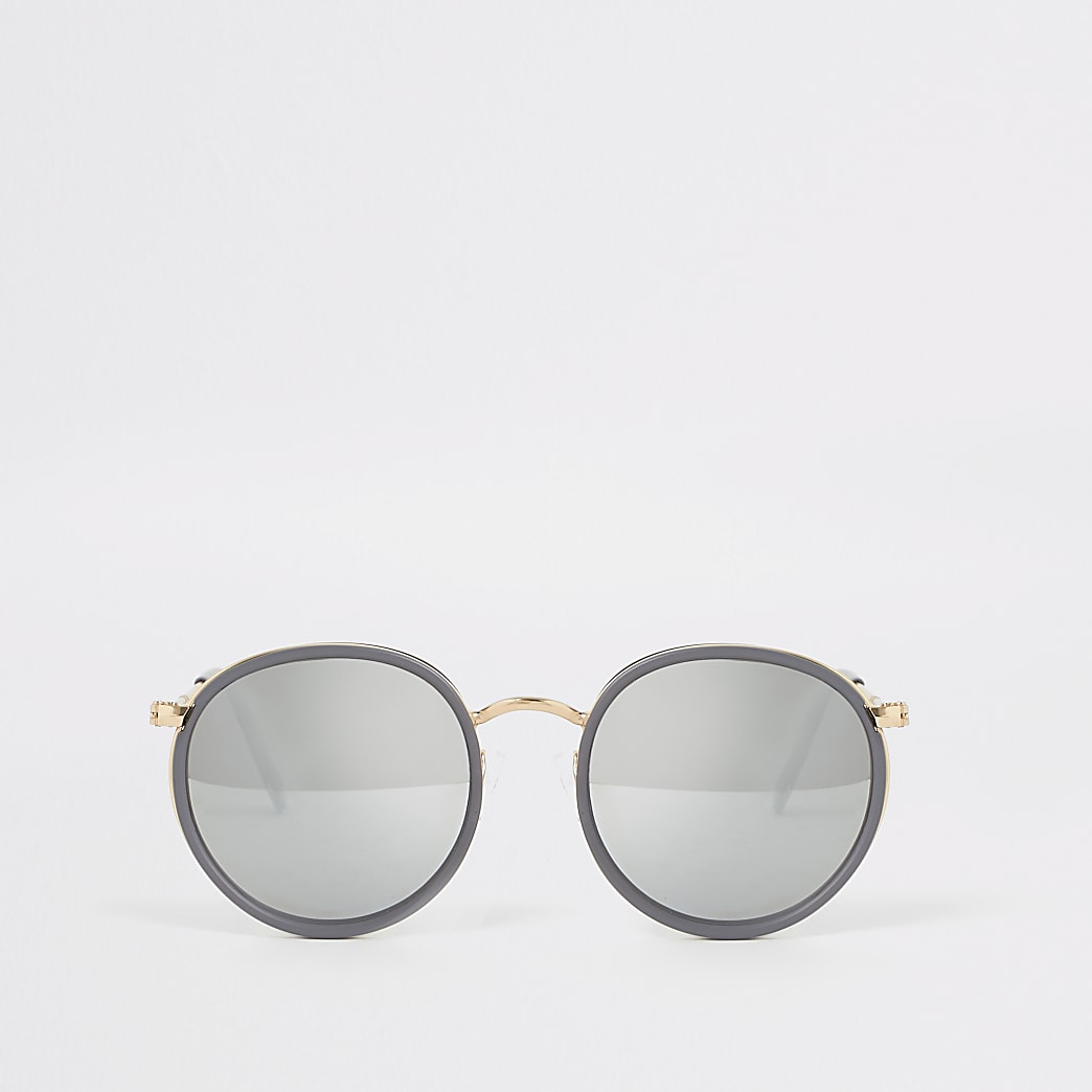 Grey and gold round sunglasses