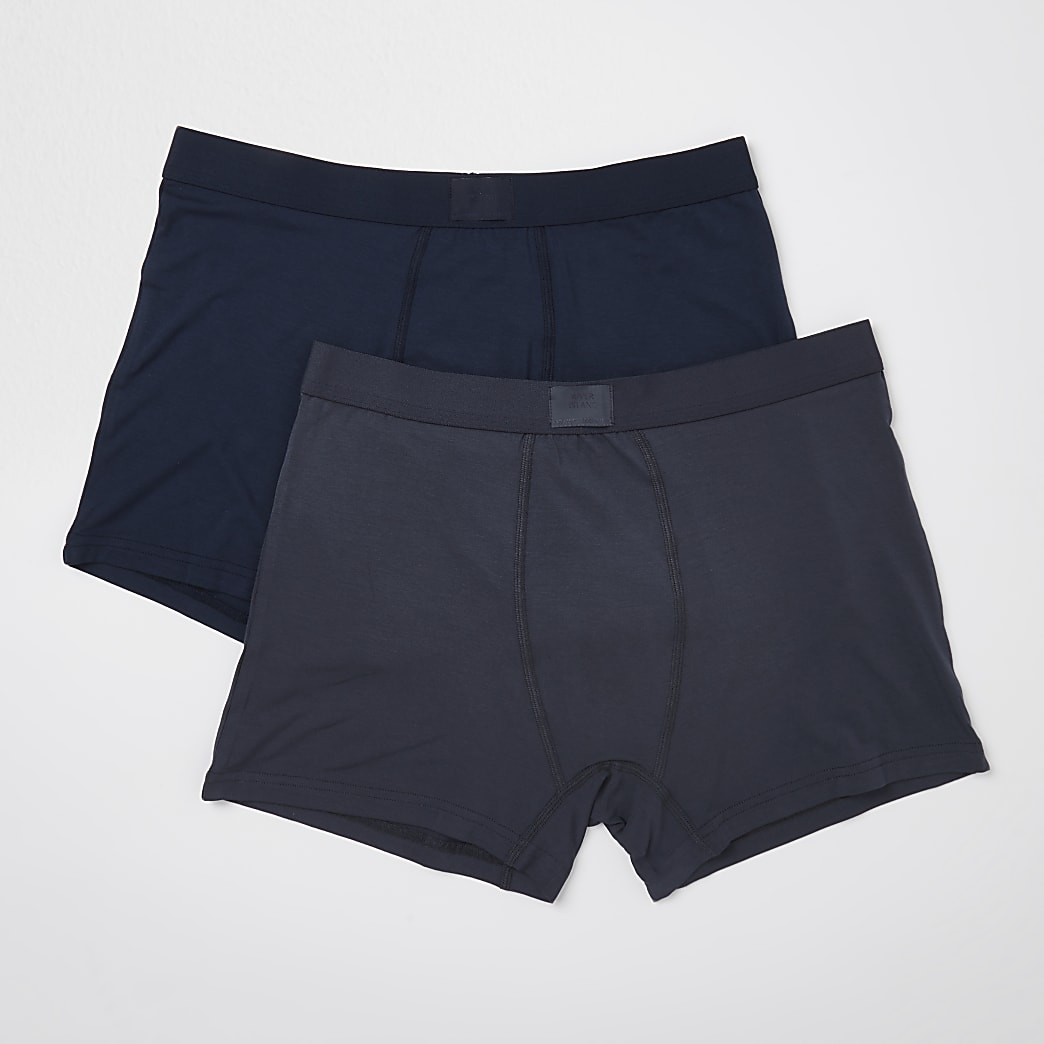 Grey & navy premium trunks 2 pack