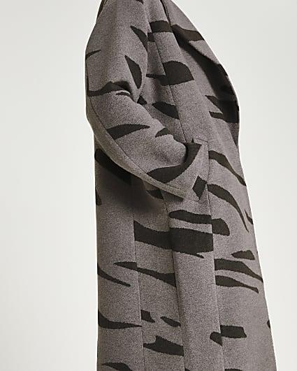 Grey animal print oversized coat