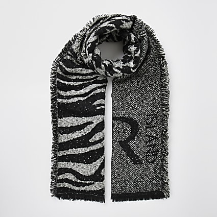 Grey animal printed RI scarf