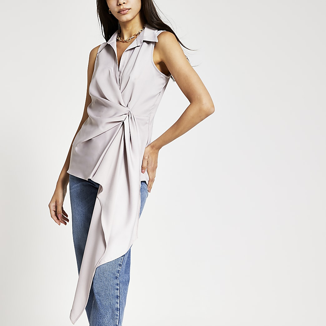Grey asymmetric shirt