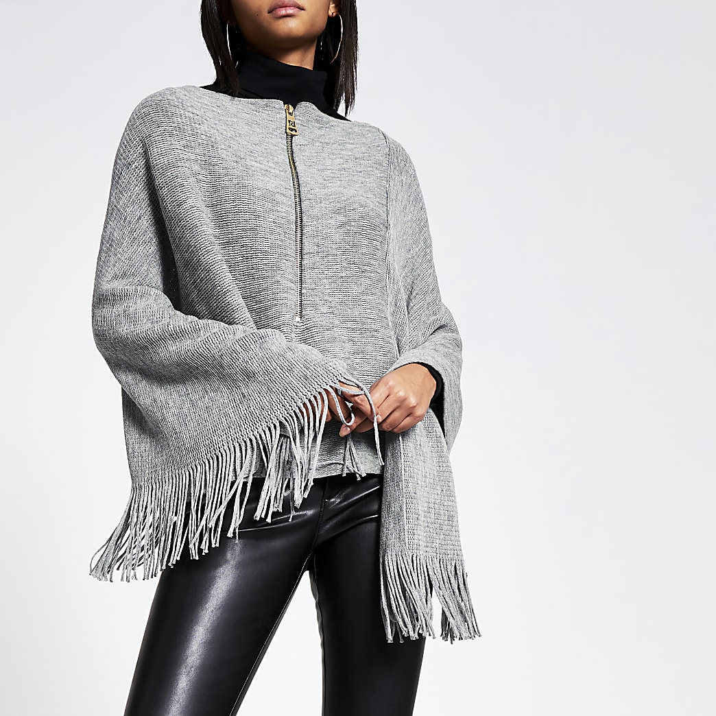 Grey asymmetric zip front knitted cape