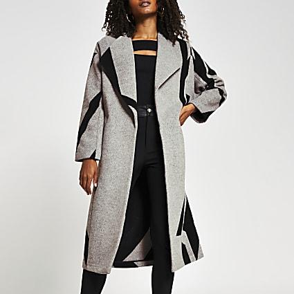 Grey aztec print long line coatigan