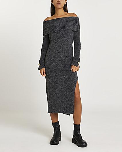 Grey bardot jumper dress