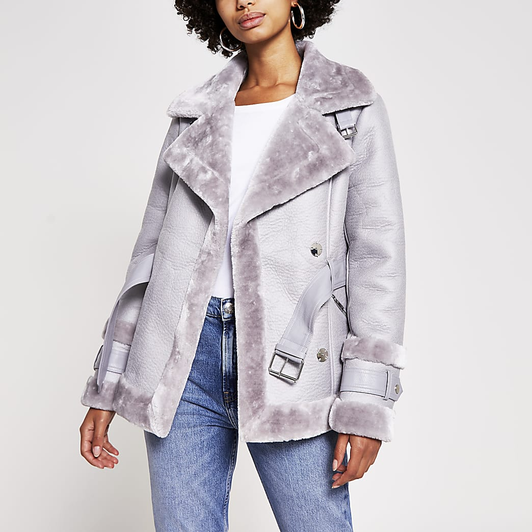 Grey belted faux shearling aviator jacket