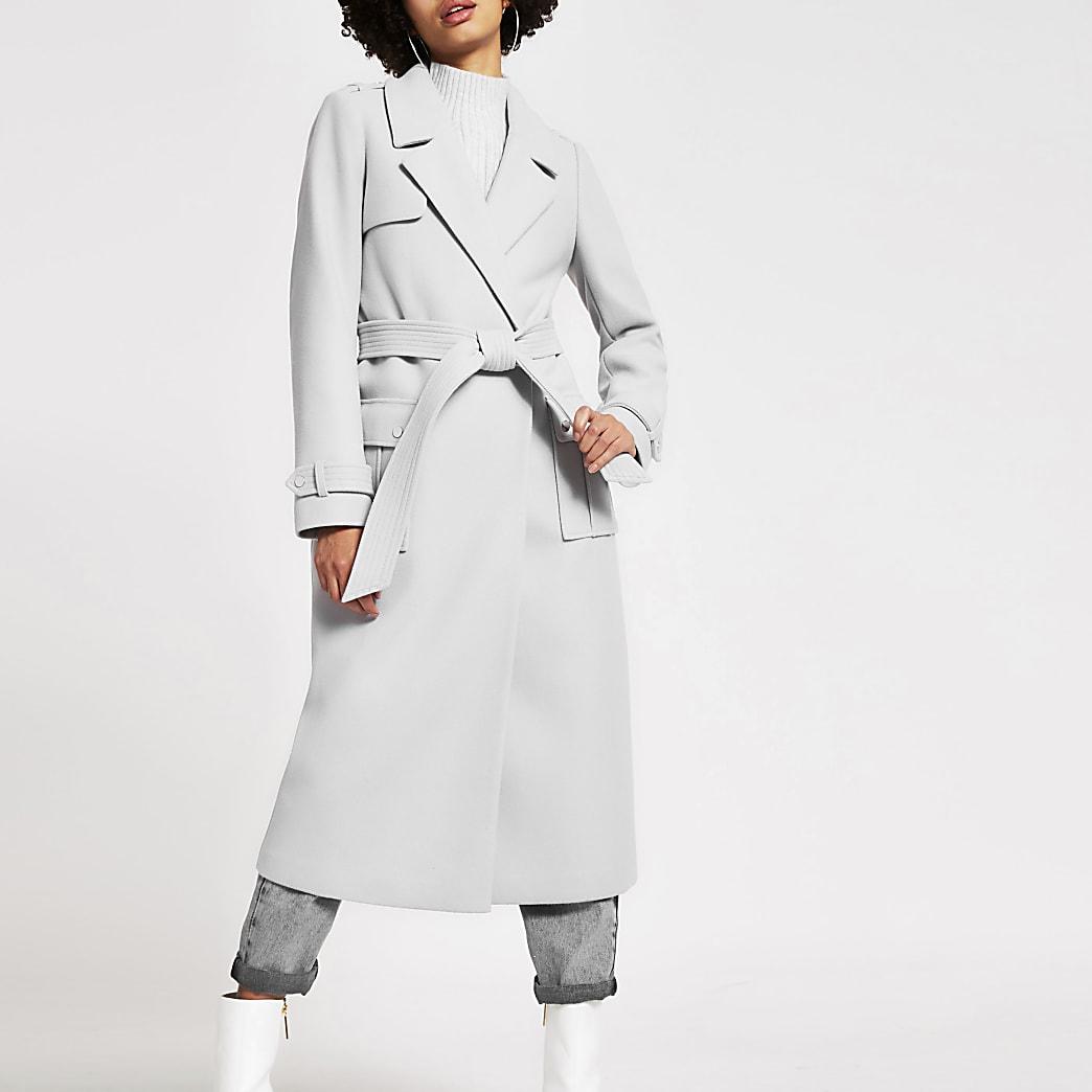 Grey belted longline utility coat
