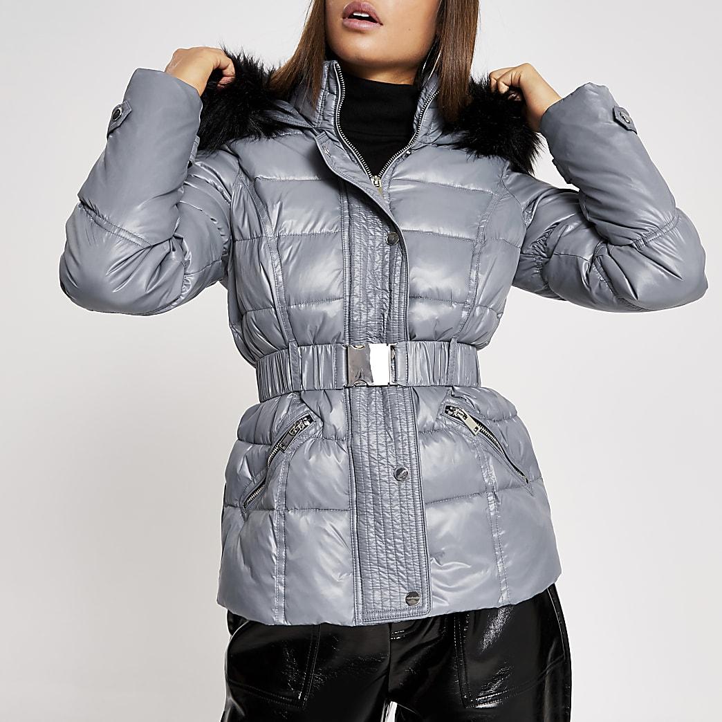 Grey belted padded jacket