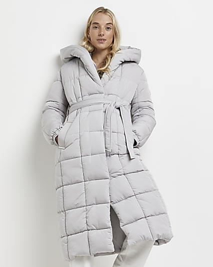 Grey belted puffer coat