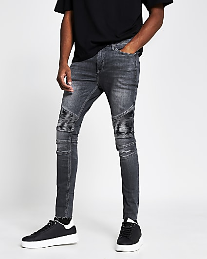 Grey biker ripped spray on skinny fit jeans