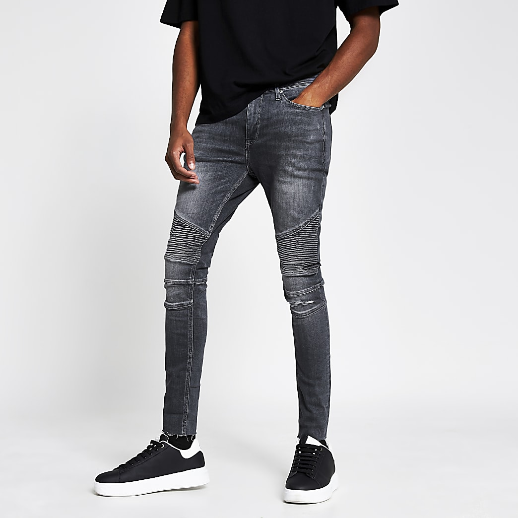 Grey biker ripped spray on skinny fit jeans