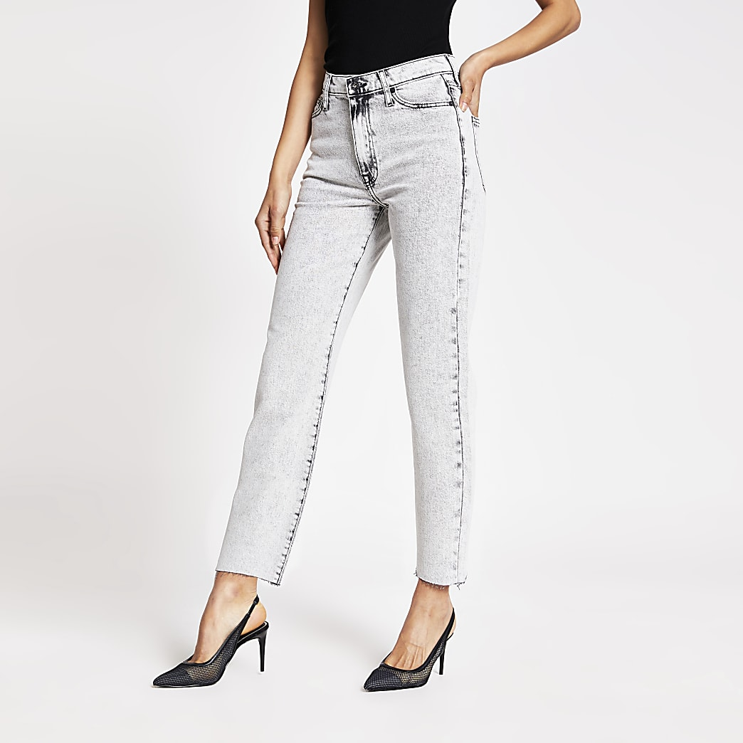 Grey Blair high rise straight jeans