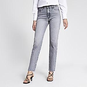 Grijze Blair jeans met rechte pijpen en hoge taille
