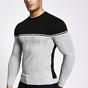 Grijze geribbelde gebreide muscle-fit trui met kleurvlak