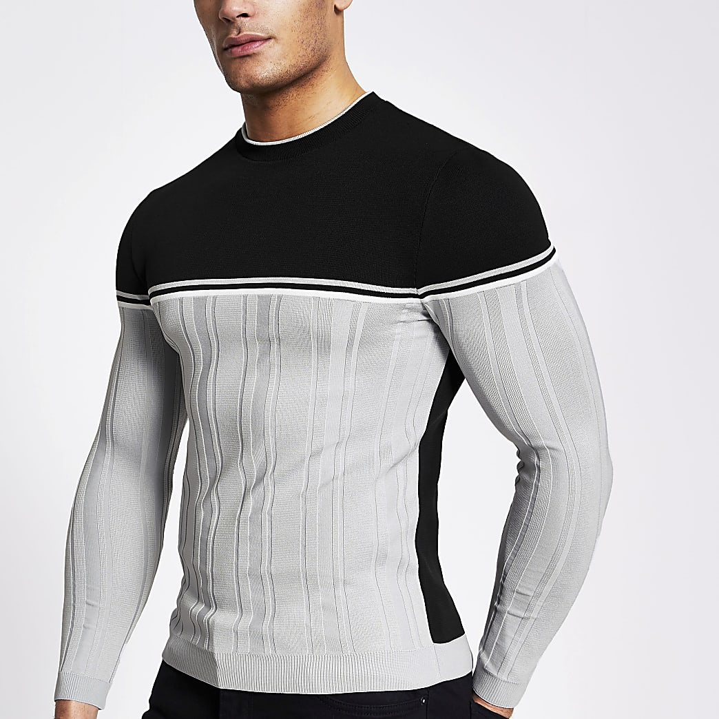 Grey block muscle fit ribbed knit jumper