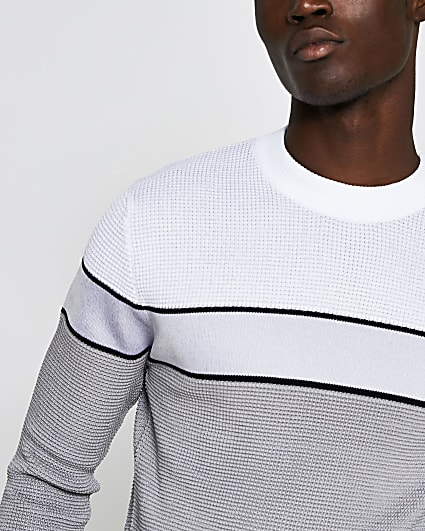 Grey blocked knitted waffle slim fit jumper