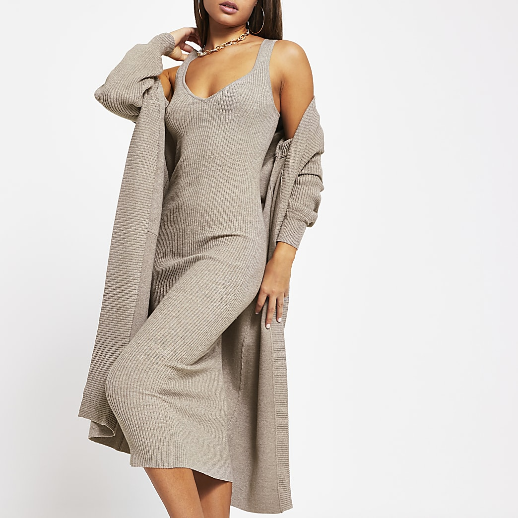 Grey bodycon midi dress