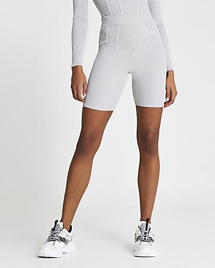Grey bodyform ribbed shorts