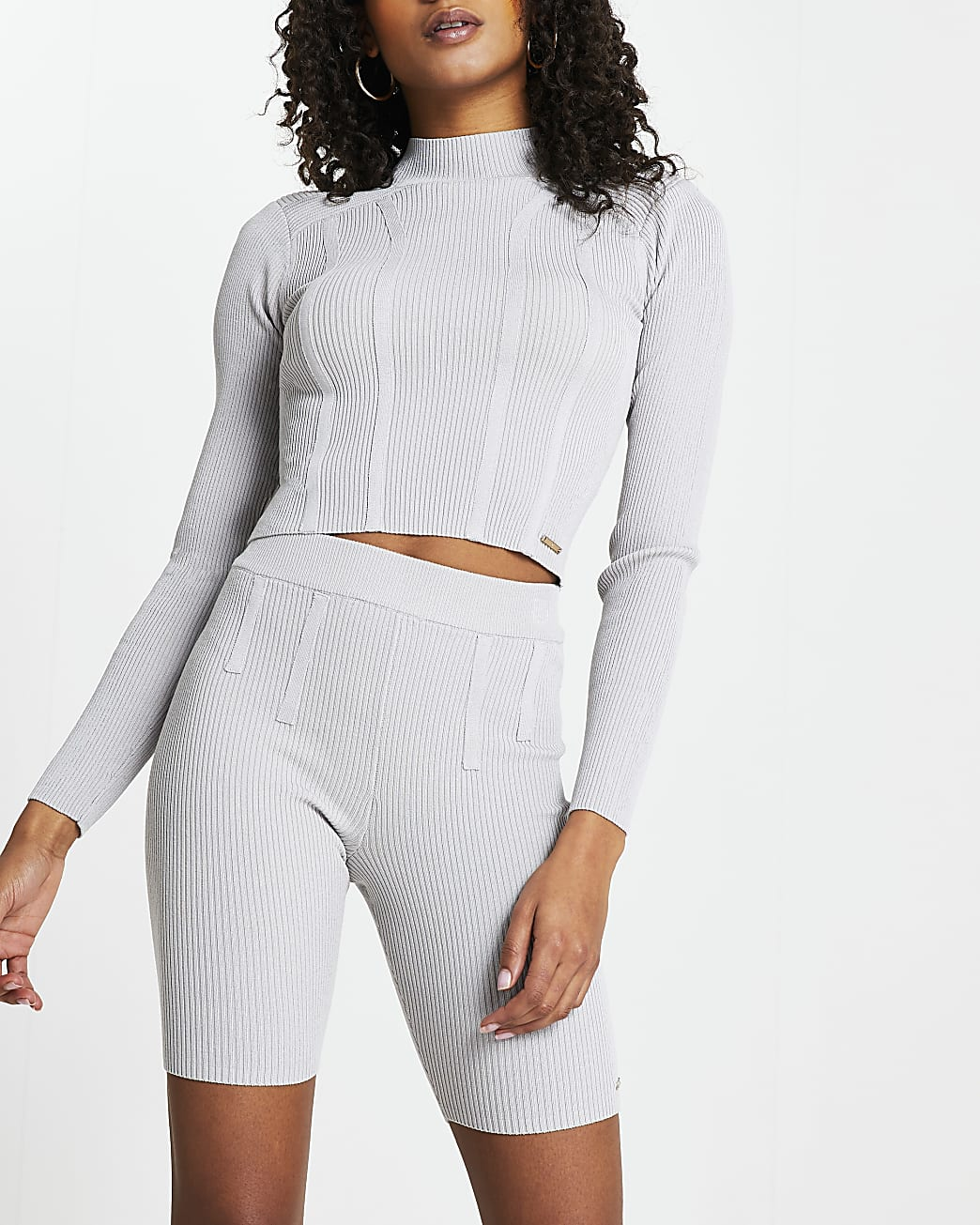 Grey bodyform shoulder pad crop top