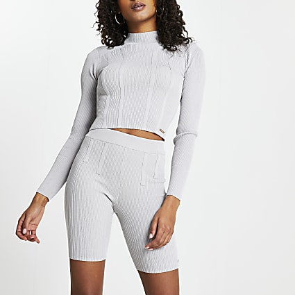 Grey bodyform shoulder pad crop top