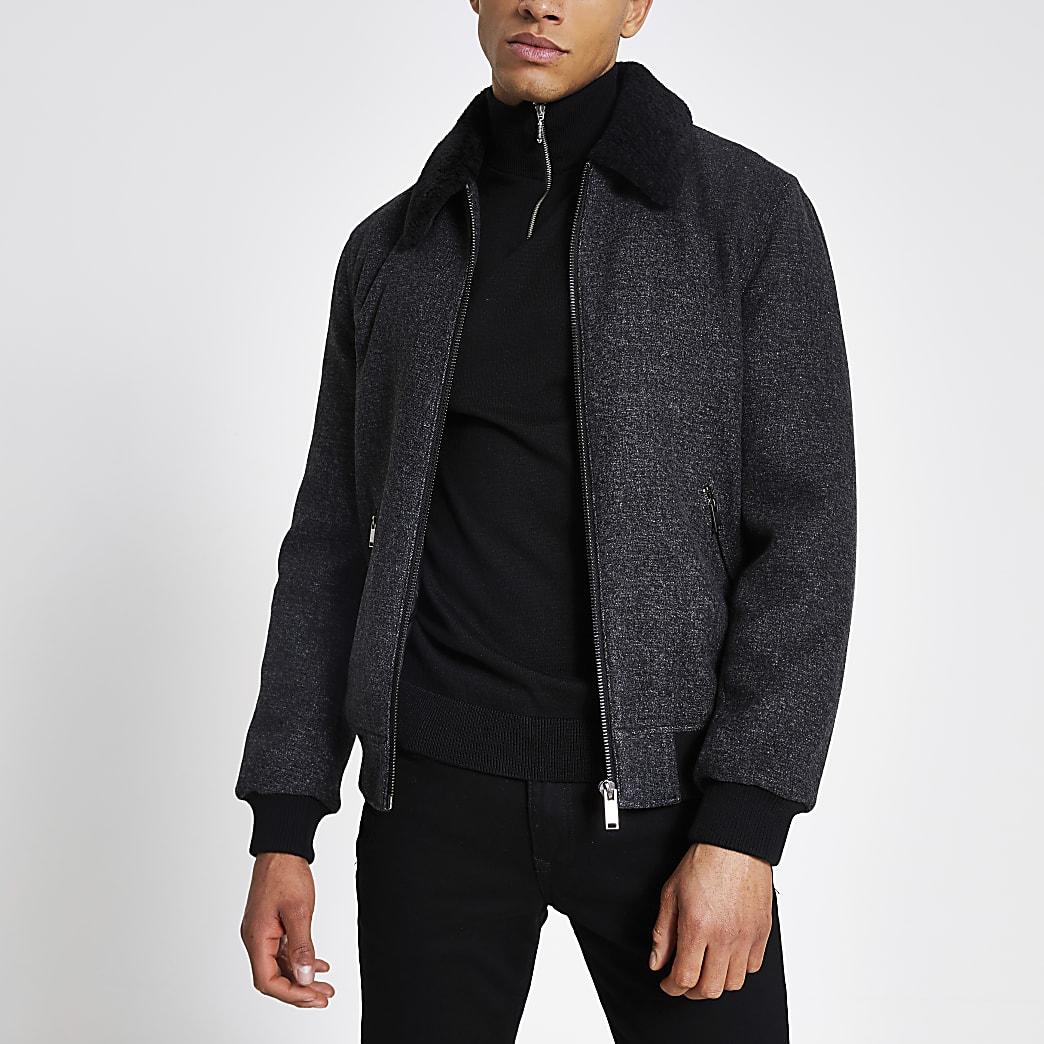 Veste grise avec col borg et zip