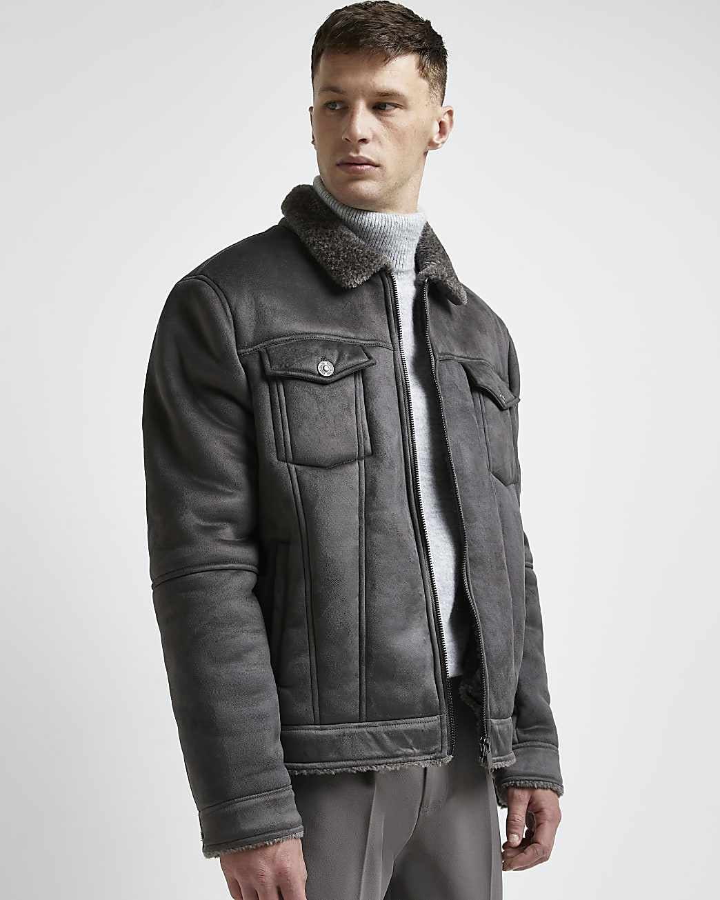 Grey borg lined suedette western jacket
