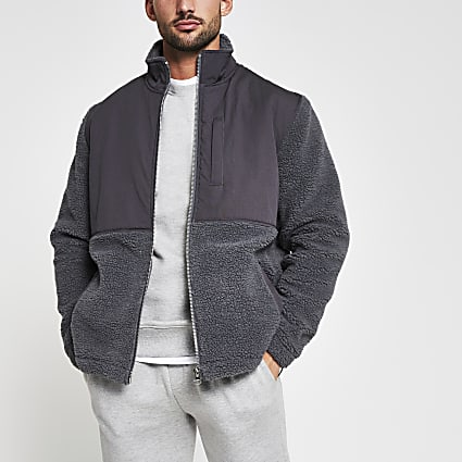 Grey borg nylon funnel neck jacket