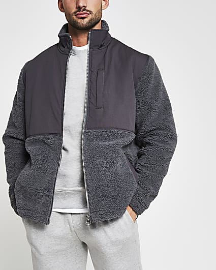 Grey borg nylon funnel neck jacket