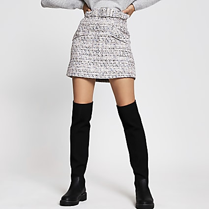 Grey boucle belted mini skirt