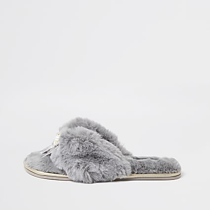 Grey bow faux fur slippers