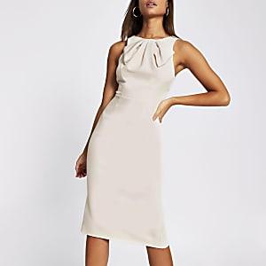 Grey bow neck bodycon midi dress