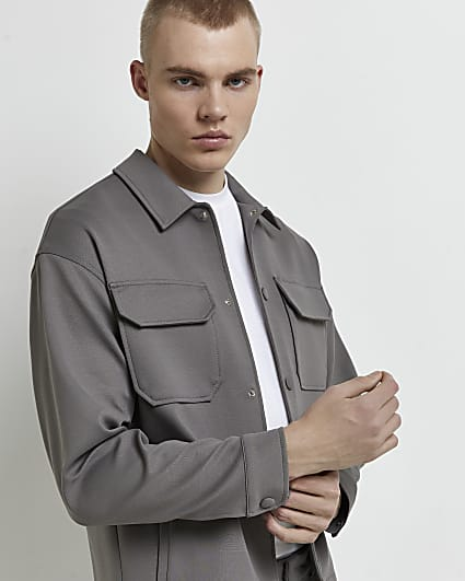 Grey boxy fit pocket shacket