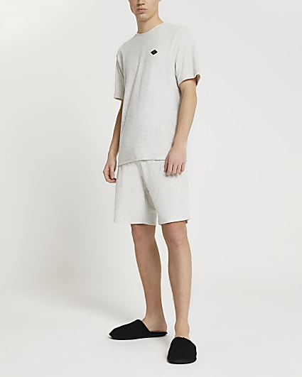 Grey brushed cotton casual shorts