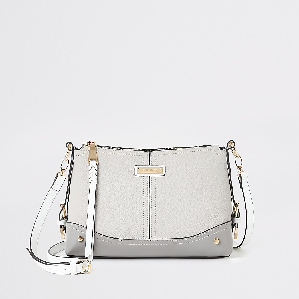 Grey buckle side cross body bag