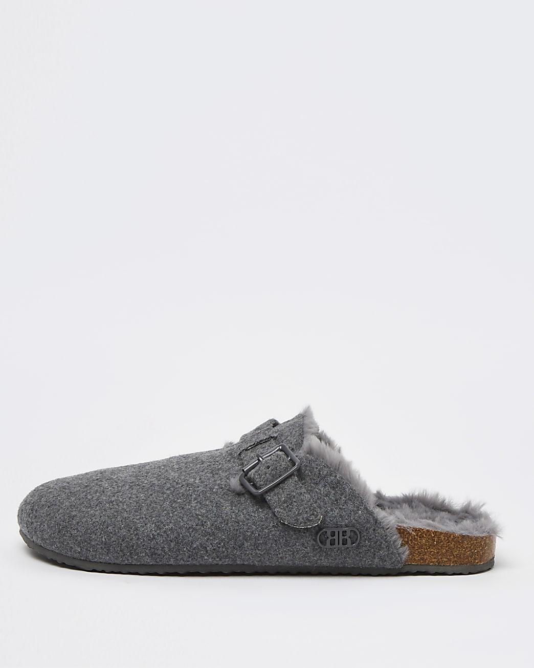 Grey buckle slip on mule slippers