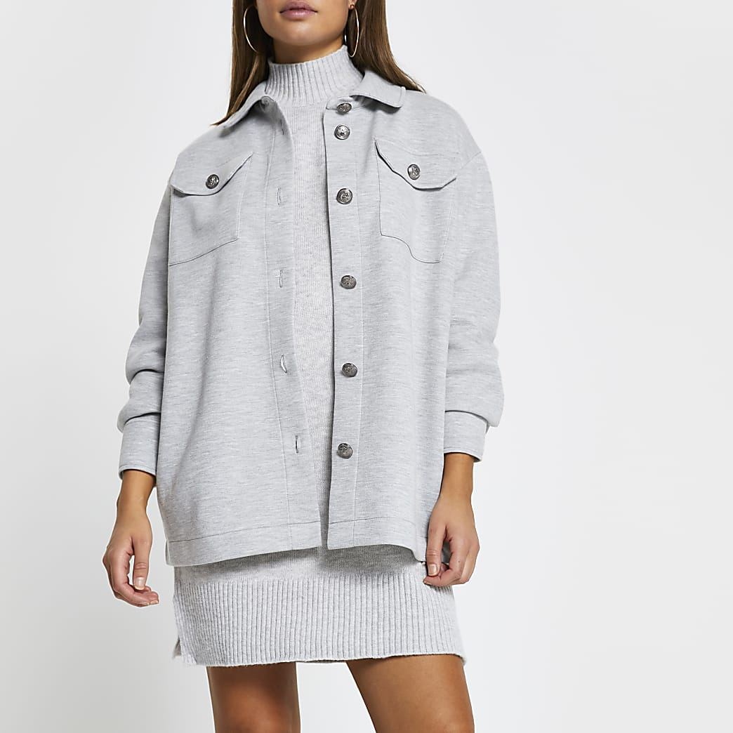 Grey button up long sleeve shacket