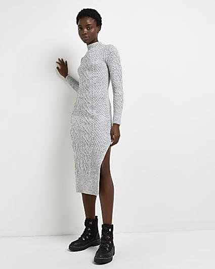 Grey cable knit bodycon midi dress