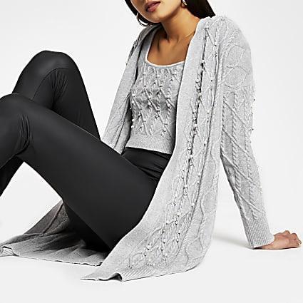Grey cable knit embellished long cardigan