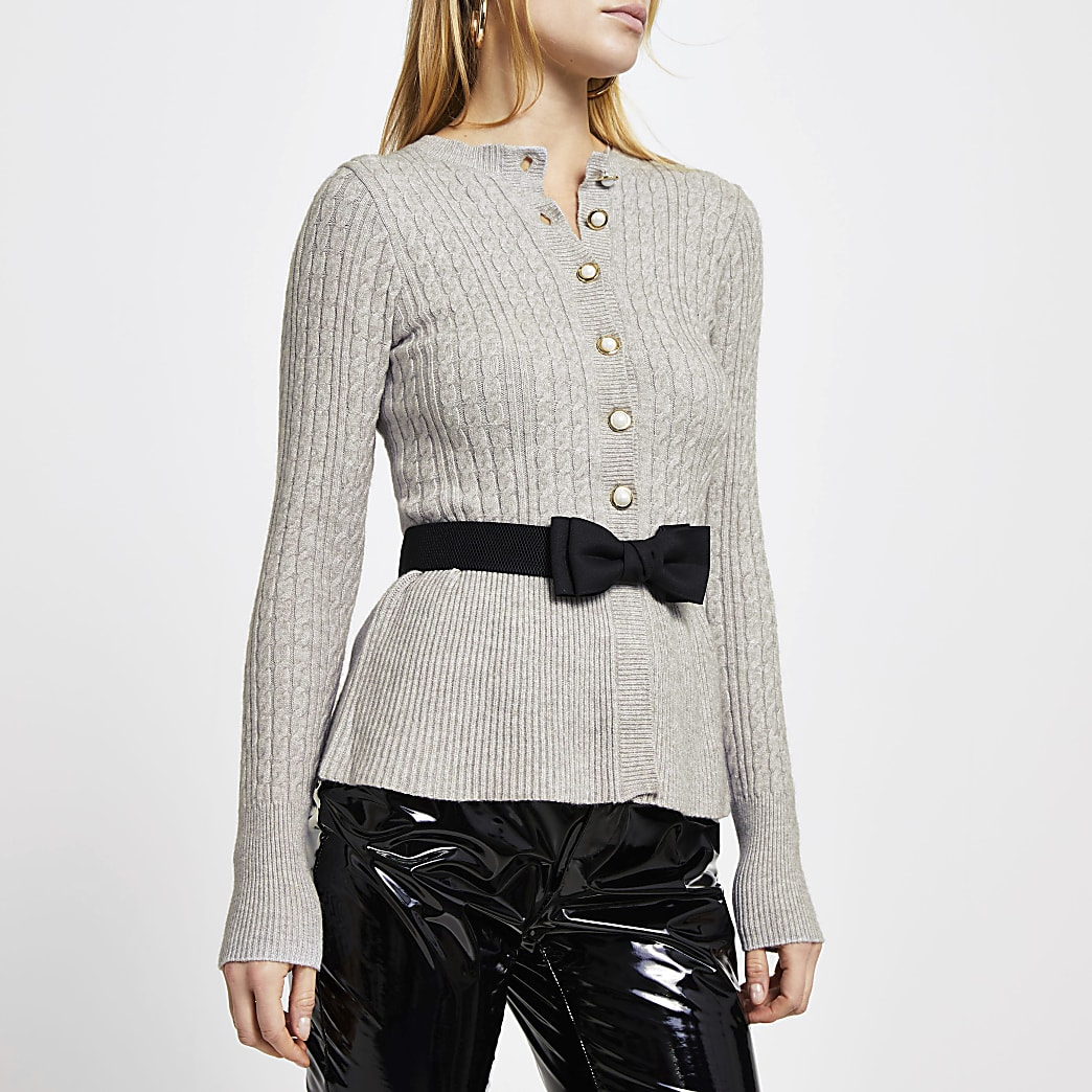 Grey cable knit peplum tie bow cardigan