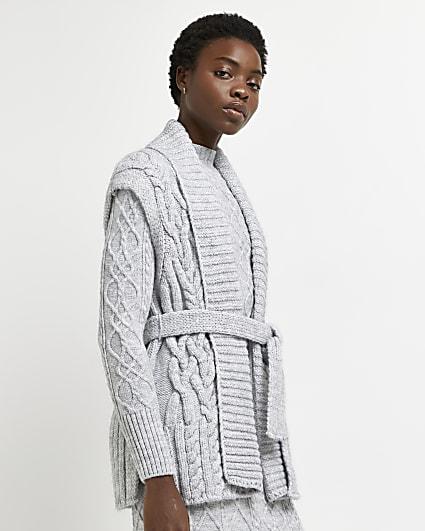Grey cable knit sleeveless cardigan