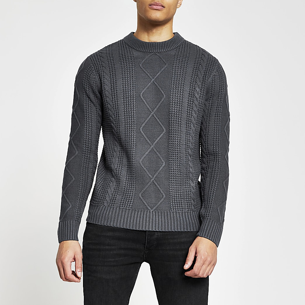 Grey cable knit slim fit jumper
