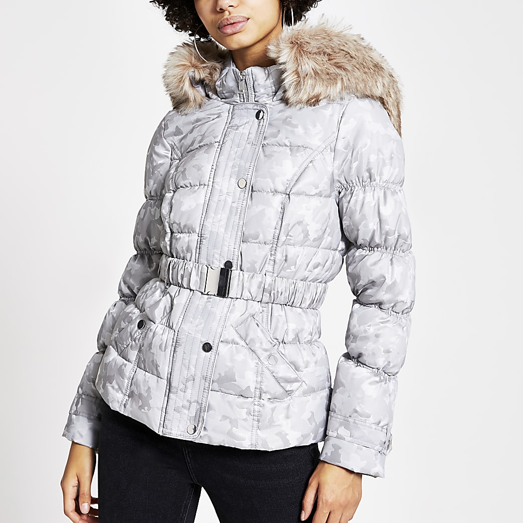 Grey camo jacquard belted padded jacket