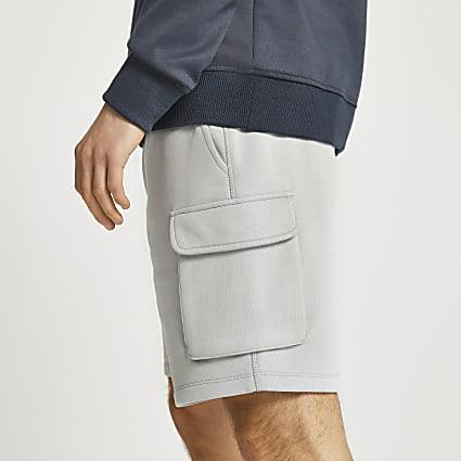 Grey cargo cotton slim fit shorts