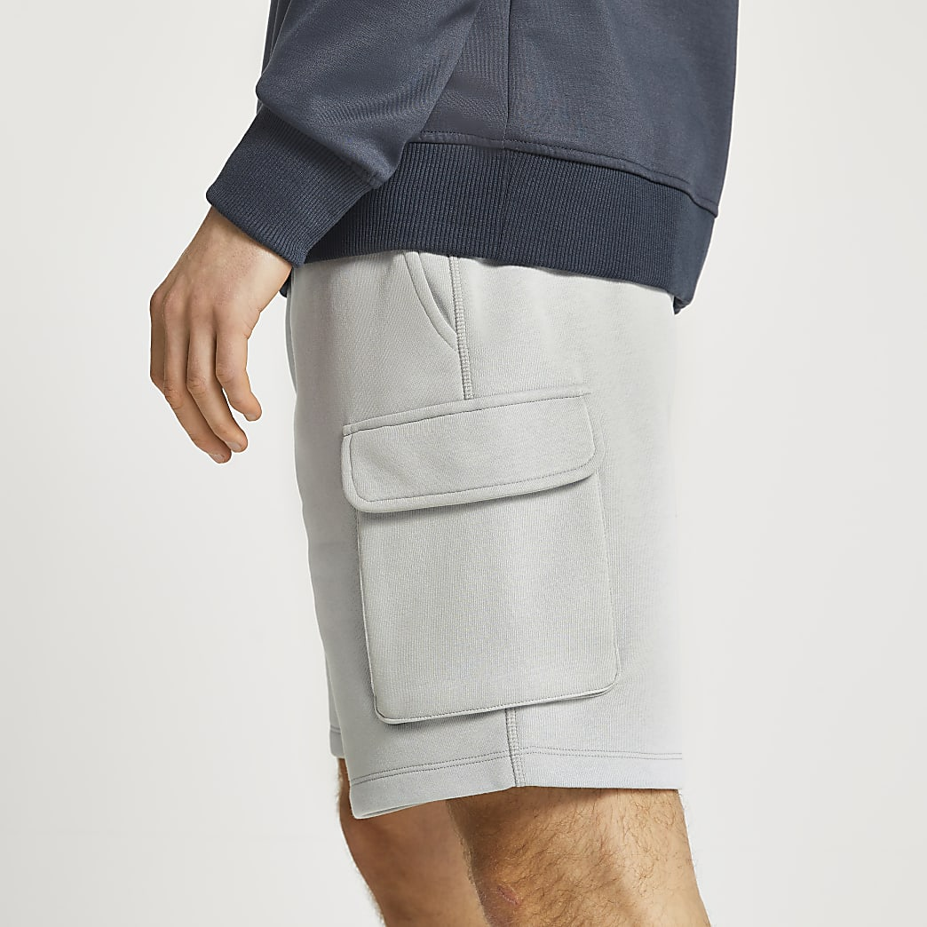 Grey cargo cotton slim fit shorts