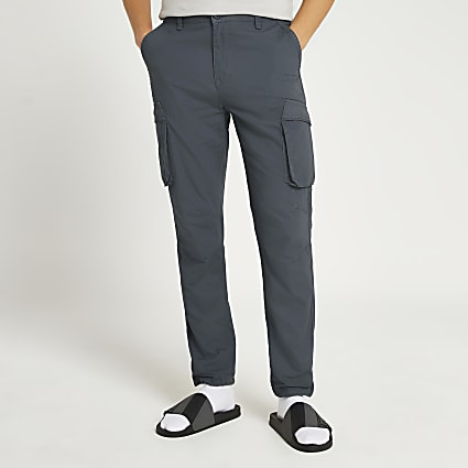 Grey cargo utility slim fit trousers