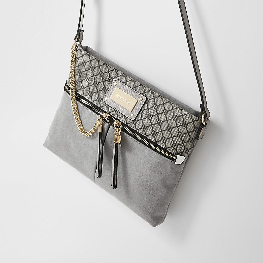 Grey chain double pocket messenger bag