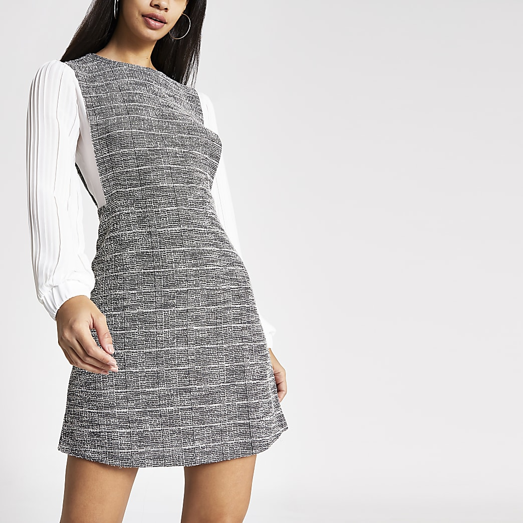 Grey check 2-in-1 pleated long sleeve dress