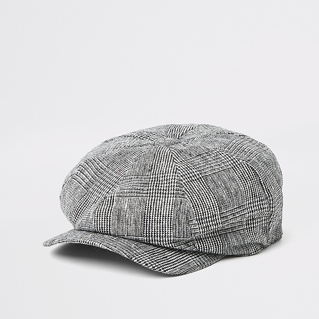 Grey check baker boy hat