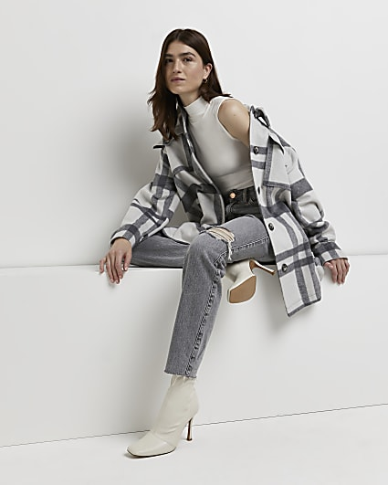 Grey check belted shacket